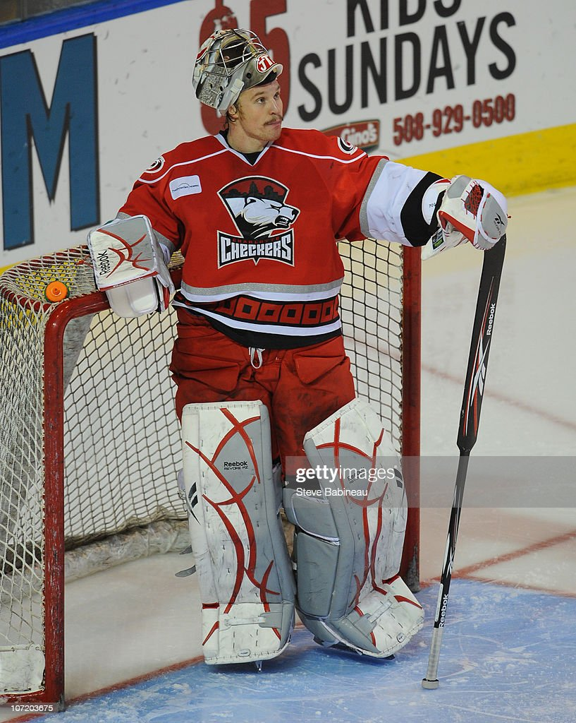 Justin Pogge #1 of the Charlotte Checkers pauses during action against the Worcester Sharks at the DCU Center on November 27, 2010 in Worcester Massachusetts.