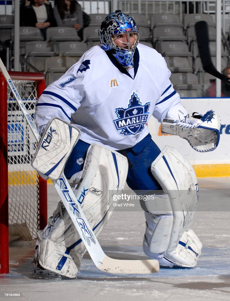Justin Pogge of the Toronto Marlies defends the goal during game action against the Lake Erie Monsters November 30 2007 at the Ricoh Coliseum in...