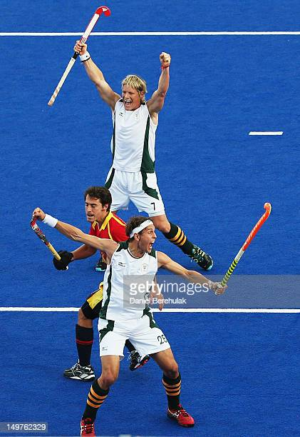 Justin ReidRoss of South Africa celebrates after scoring during the Men's Hockey match between South Africa and Spain on Day 7 of the London 2012...