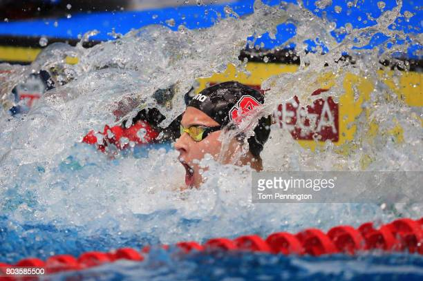 Justin Ress celebrates after winning the Men's 50 LC Meter Backstroke Final during the 2017 Phillips 66 National Championships World Championship...