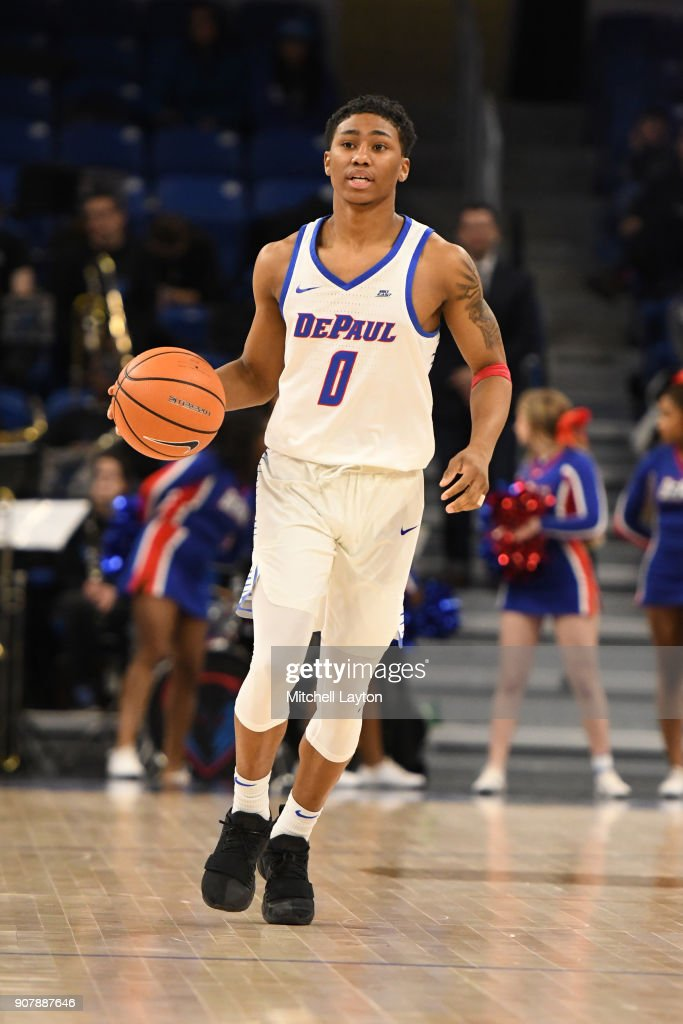 Justin Roberts #0 of the DePaul Blue Demons dribbles up court during a college basketball game against the Providence Friars at Wintrust Arena on January 12, 2018 in Chicago, Illinois. The Friars won 71-64.