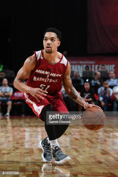 Justin Robinson of the Miami Heat handles the ball against the LA Clippers on July 13 2017 at the Thomas Mack Center in Las Vegas Nevada NOTE TO USER...