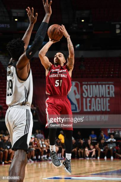 Justin Robinson of the Miami Heat shoots the ball against the LA Clippers on July 13 2017 at the Thomas Mack Center in Las Vegas Nevada NOTE TO USER...