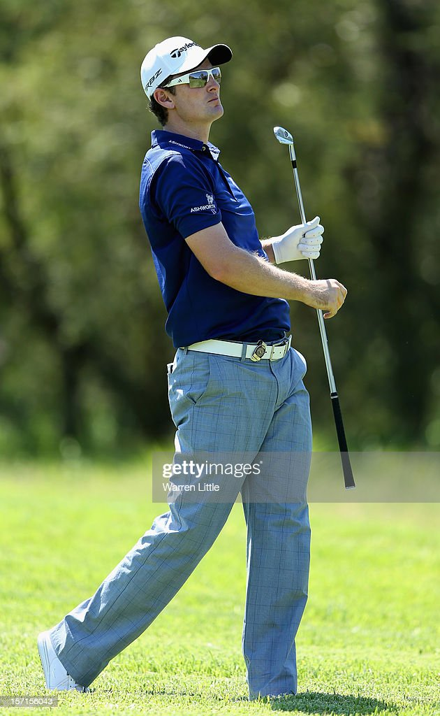 Justin Rose in action during the first round of the Nedbank Golf Challenge at the Gary Player Country Club on November 29, 2012 in Sun City, South Africa.