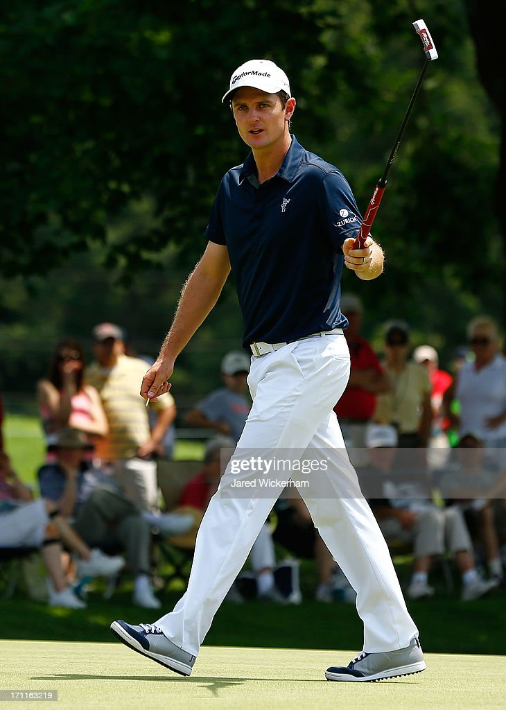 <a gi-track='captionPersonalityLinkClicked' href=/galleries/search?phrase=Justin+Rose&family=editorial&specificpeople=171559 ng-click='$event.stopPropagation()'>Justin Rose</a> of England acknowledges the crowd at the 4th hole during the third round of the 2013 Travelers Championship at TPC River Highlands on June 22, 2012 in Cromwell, Connecticut.