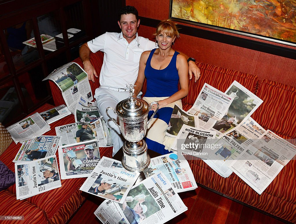 <a gi-track='captionPersonalityLinkClicked' href=/galleries/search?phrase=Justin+Rose&family=editorial&specificpeople=171559 ng-click='$event.stopPropagation()'>Justin Rose</a> of England and his wife Kate Rose and the morning papers as they looked at the photographs and stories of his 2013 US Open win at Merion Golf Club at his hotel on June 17, 2013 in Conshohocken, Pennsylvania.