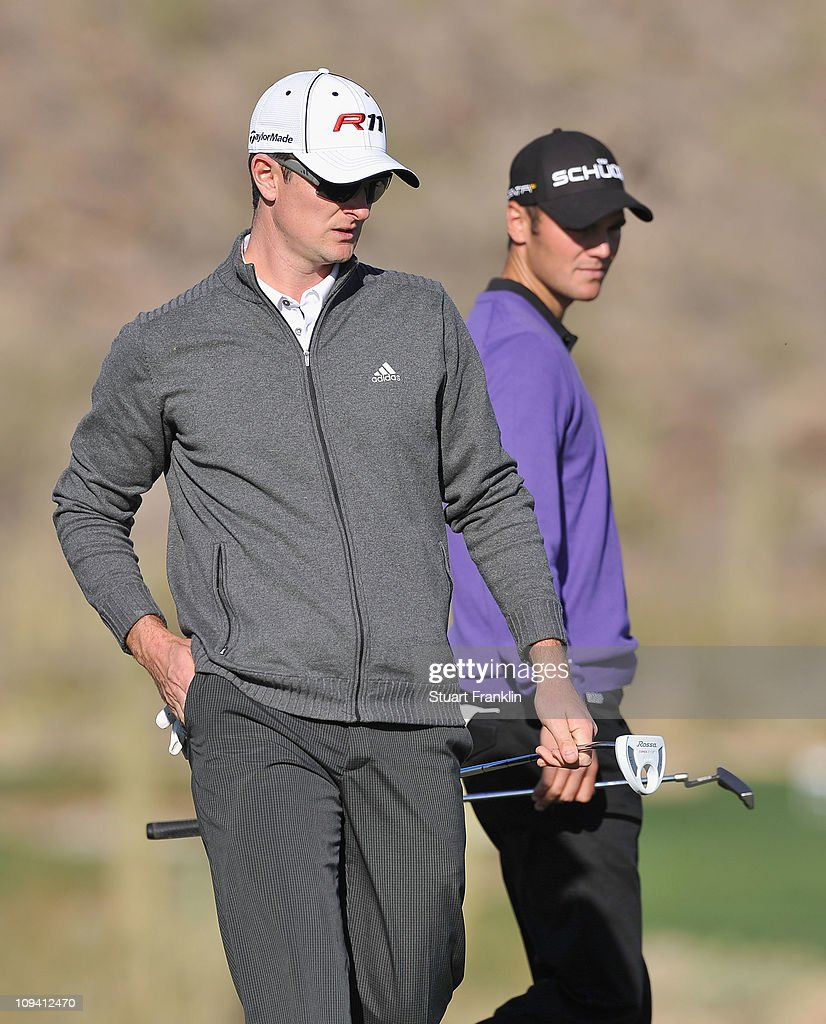 <a gi-track='captionPersonalityLinkClicked' href=/galleries/search?phrase=Justin+Rose&family=editorial&specificpeople=171559 ng-click='$event.stopPropagation()'>Justin Rose</a> of England and <a gi-track='captionPersonalityLinkClicked' href=/galleries/search?phrase=Martin+Kaymer&family=editorial&specificpeople=2143733 ng-click='$event.stopPropagation()'>Martin Kaymer</a> of Germany during the second round of the Accenture Match Play Championship at the Ritz-Carlton Golf Club on February 24, 2011 in Marana, Arizona.
