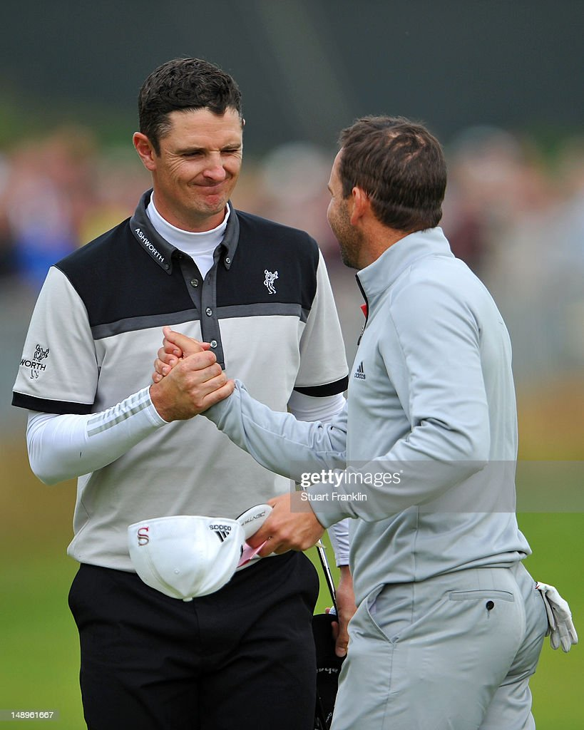 Justin Rose of England and Sergio Garcia of Spain shakes hands following the eighteenth hole during the second round of the 141st Open Championship at Royal Lytham & St Annes Golf Club on July 20, 2012 in Lytham St Annes, England.