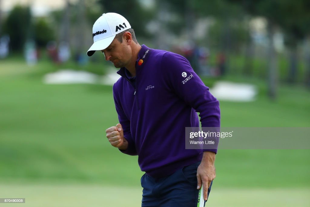 Justin Rose of England celebrates a birdie on the 18th green during the final round of the Turkish Airlines Open at the Regnum Carya Golf & Spa Resort on November 5, 2017 in Antalya, Turkey.