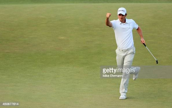 Justin Rose of England celebrates a birdie putt on the 18th green during the final round of the 114th US Open at Pinehurst Resort Country Club Course...