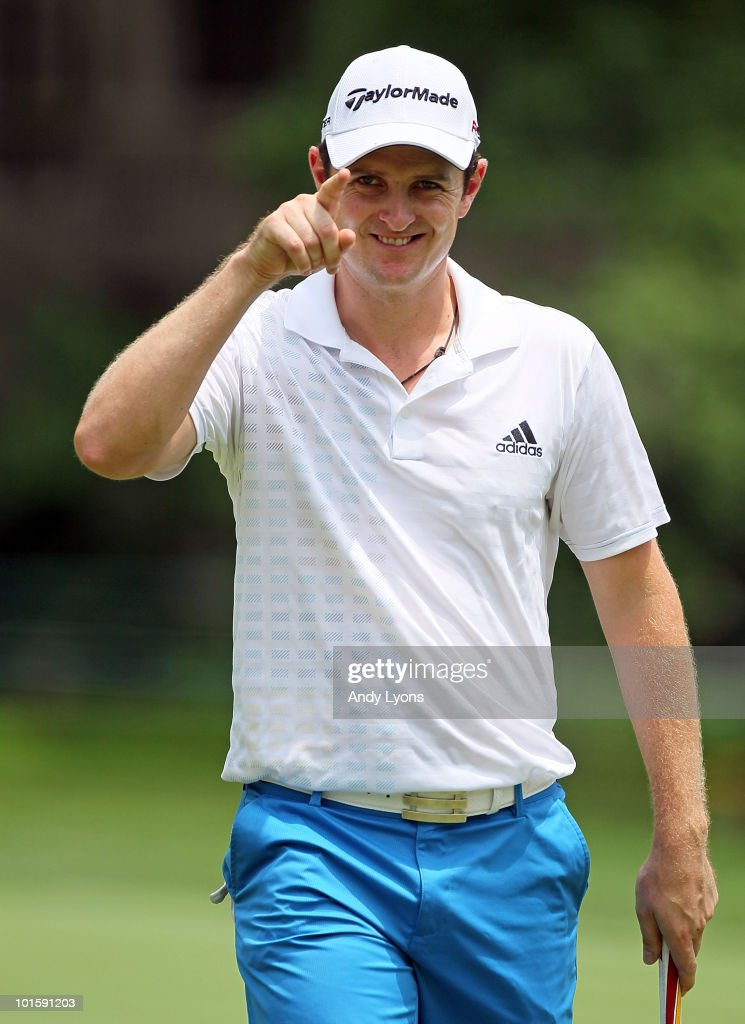 Justin Rose of England celebrates after making a birdie putt on the sixth hole during the first round of The Memorial Tournament presented by Morgan Stanley at Muirfield Village Golf Club on June 3, 2010 in Dublin, Ohio.