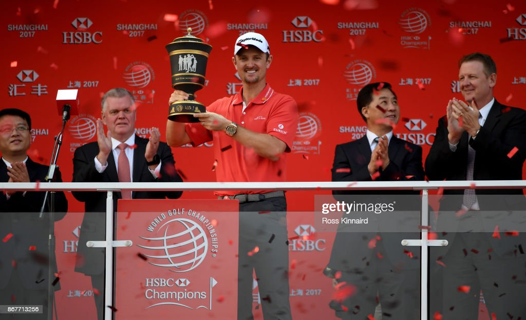 Justin Rose of England celebrates with the winners trophy after the final round of the WGC - HSBC Champions at Sheshan International Golf Club on October 29, 2017 in Shanghai, China.