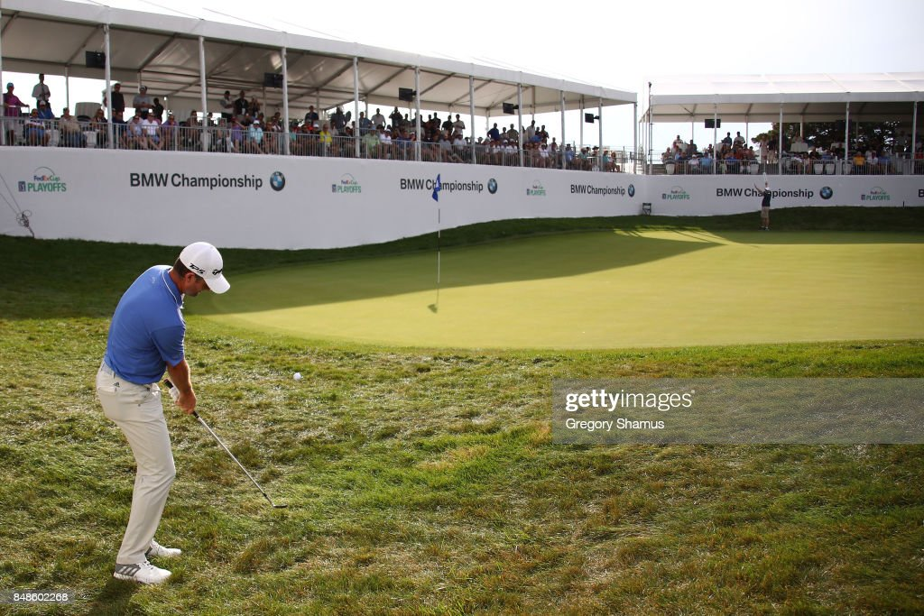 Justin Rose of England chips to the 17th green during the final round of the BMW Championship at Conway Farms Golf Club on September 17, 2017 in Lake Forest, Illinois.