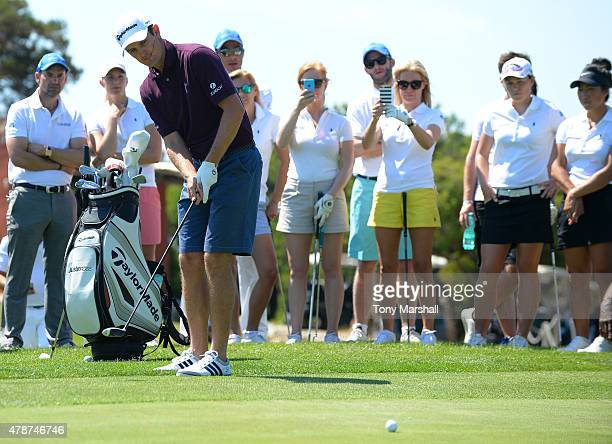 Justin Rose of England conducts a Golf Clinicduring The Costa Smeralda Invitational Golf Tournament at Pevero Golf Club Costa Smeralda on June 27...