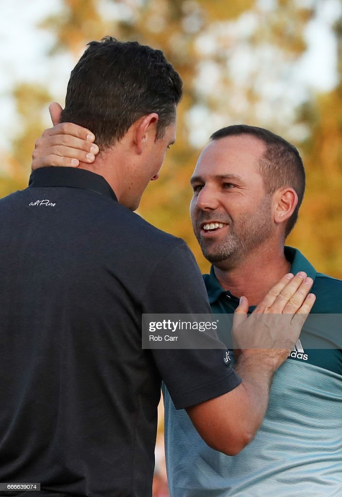 Justin Rose (L) of England congratulates Sergio Garcia (R) of Spain after Garcia won on the first playoff hole during the final round of the 2017 Masters Tournament at Augusta National Golf Club on April 9, 2017 in Augusta, Georgia.