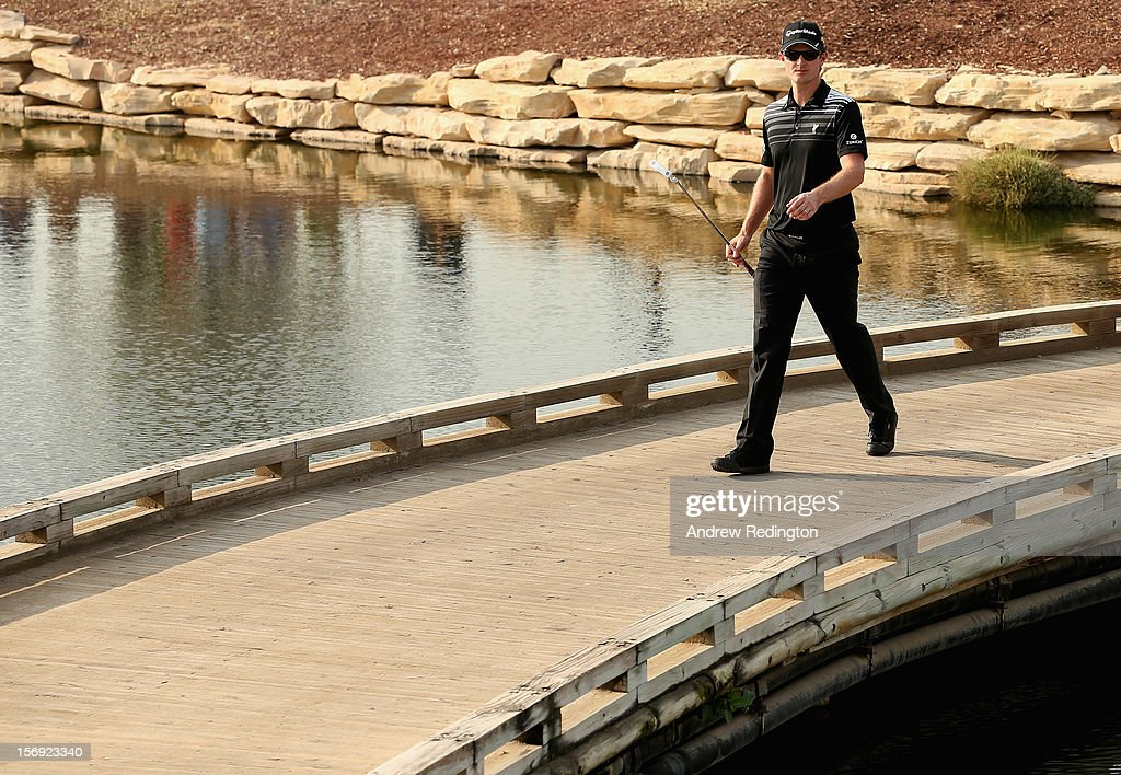 Justin Rose of England crosses a brideg on the 17th hole during the final round of the DP World Tour Championship on the Earth Course at Jumeirah Golf Estates on November 25, 2012 in Dubai, United Arab Emirates.