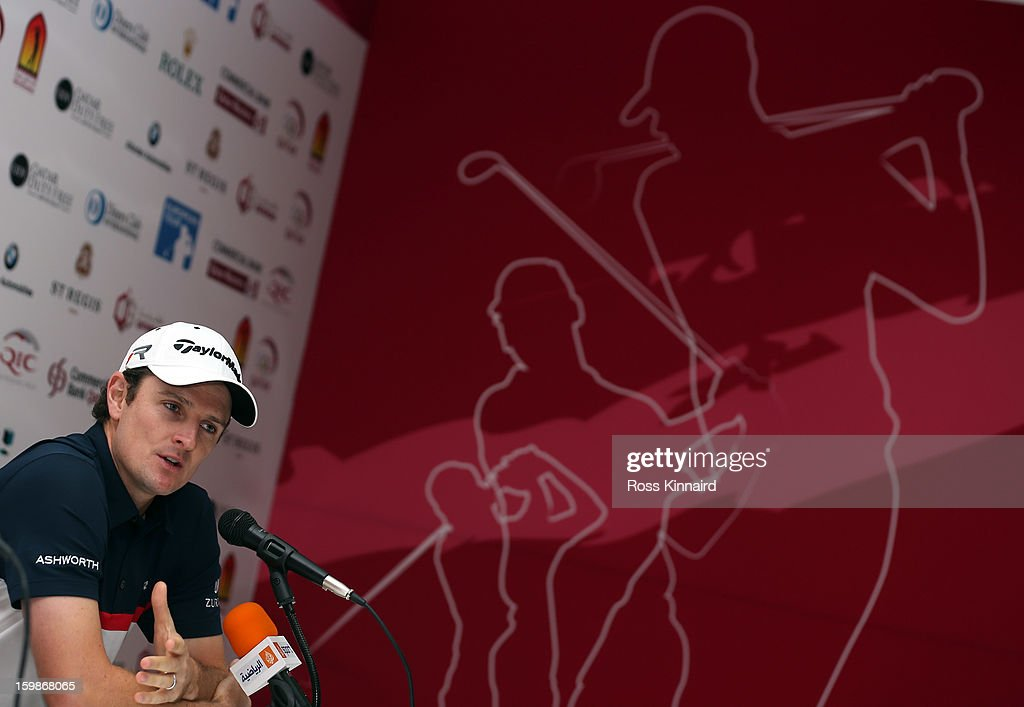 <a gi-track='captionPersonalityLinkClicked' href=/galleries/search?phrase=Justin+Rose&family=editorial&specificpeople=171559 ng-click='$event.stopPropagation()'>Justin Rose</a> of England gives a press conference during the pro-am event prior to the Commercial Bank Qatar Masters at The Doha Golf Club on January 22, 2013 in Doha, Qatar.