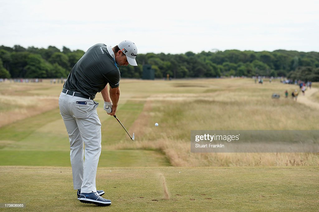 Justin Rose of England hits a drive from the 8th hole during the first round of the 142nd Open Championship at Muirfield on July 18, 2013 in Gullane, Scotland.
