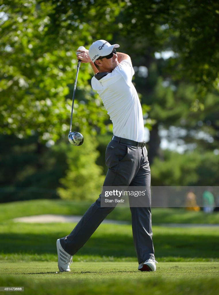 Justin Rose of England hits a drive on the 15th hole during the final round of the Quicken Loans National at Congressional Country Club on June 29, 2014 in Bethesda, Maryland.