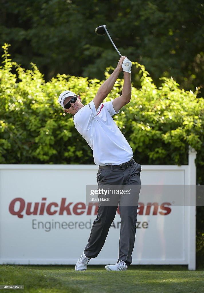 Justin Rose of England hits a drive on the 18th hole during the final round of the Quicken Loans National at Congressional Country Club on June 29, 2014 in Bethesda, Maryland.