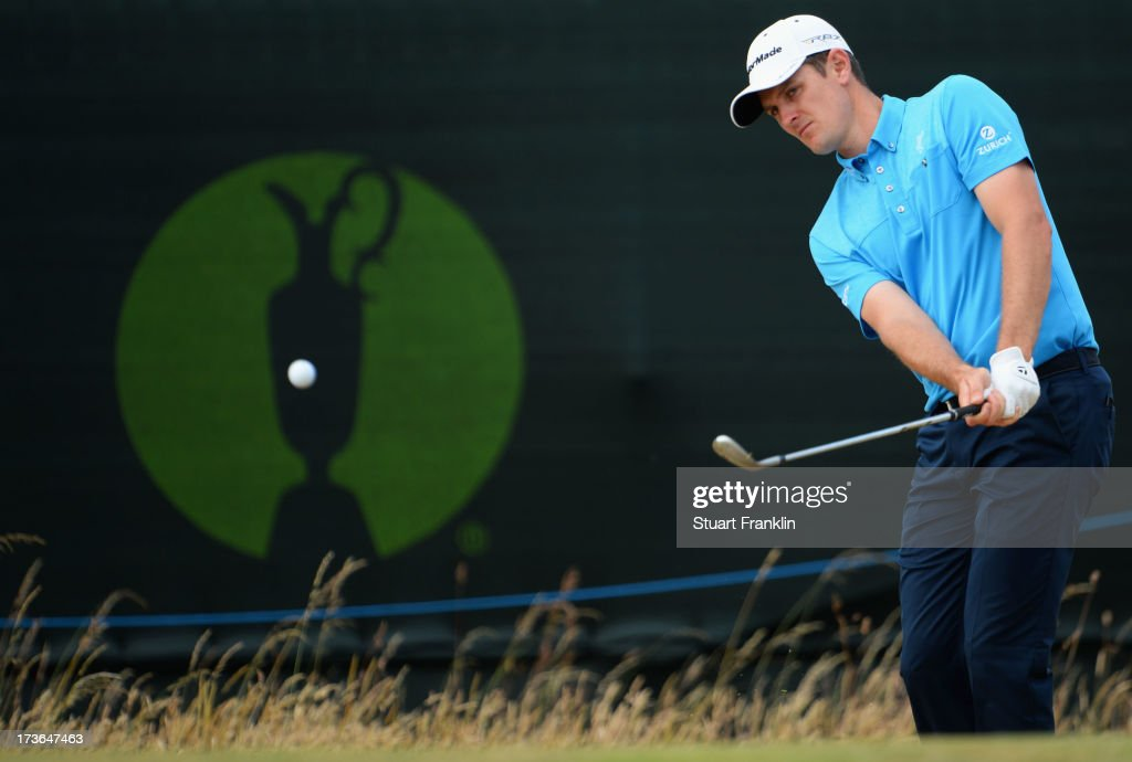 <a gi-track='captionPersonalityLinkClicked' href=/galleries/search?phrase=Justin+Rose&family=editorial&specificpeople=171559 ng-click='$event.stopPropagation()'>Justin Rose</a> of England hits a shot ahead of the 142nd Open Championship at Muirfield on July 16, 2013 in Gullane, Scotland.