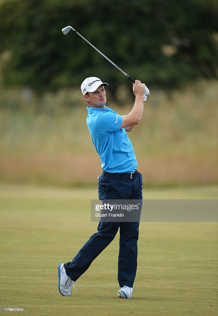Justin Rose of England hits a shot ahead of the 142nd Open Championship at Muirfield on July 16, 2013 in Gullane, Scotland.