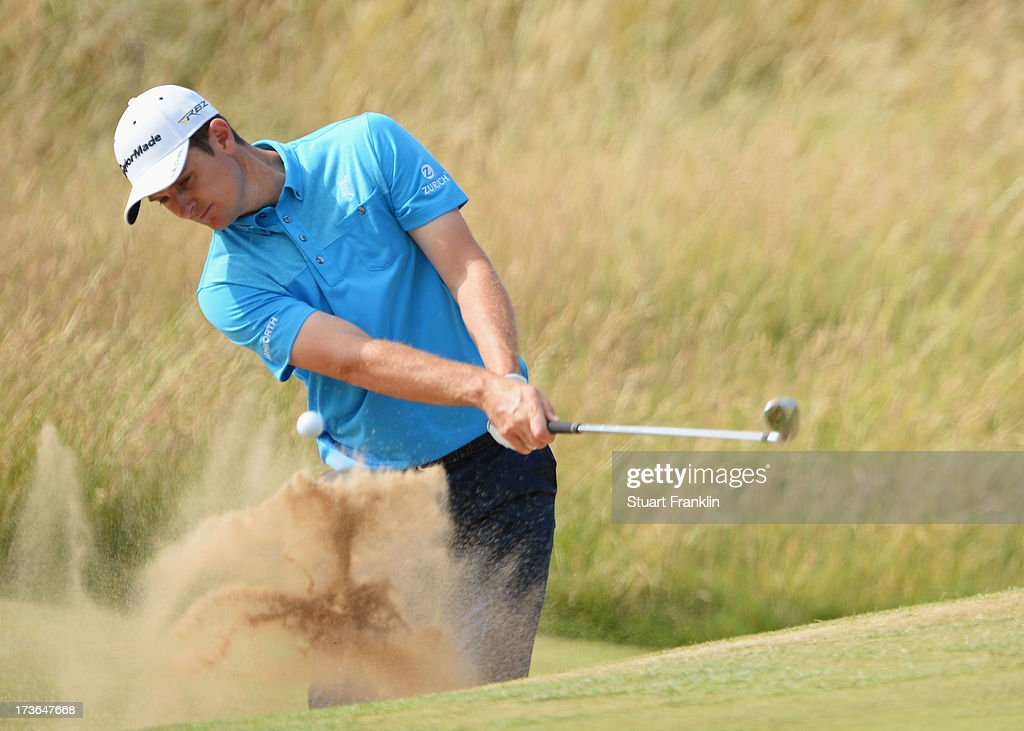 Justin Rose of England hits a shot out of the bunker ahead of the 142nd Open Championship at Muirfield on July 16, 2013 in Gullane, Scotland.