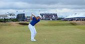 Justin Rose of England hits his second shot on the 18th hole during the final round of the Aberdeen Asset Management Scottish Open at Royal Aberdeen...