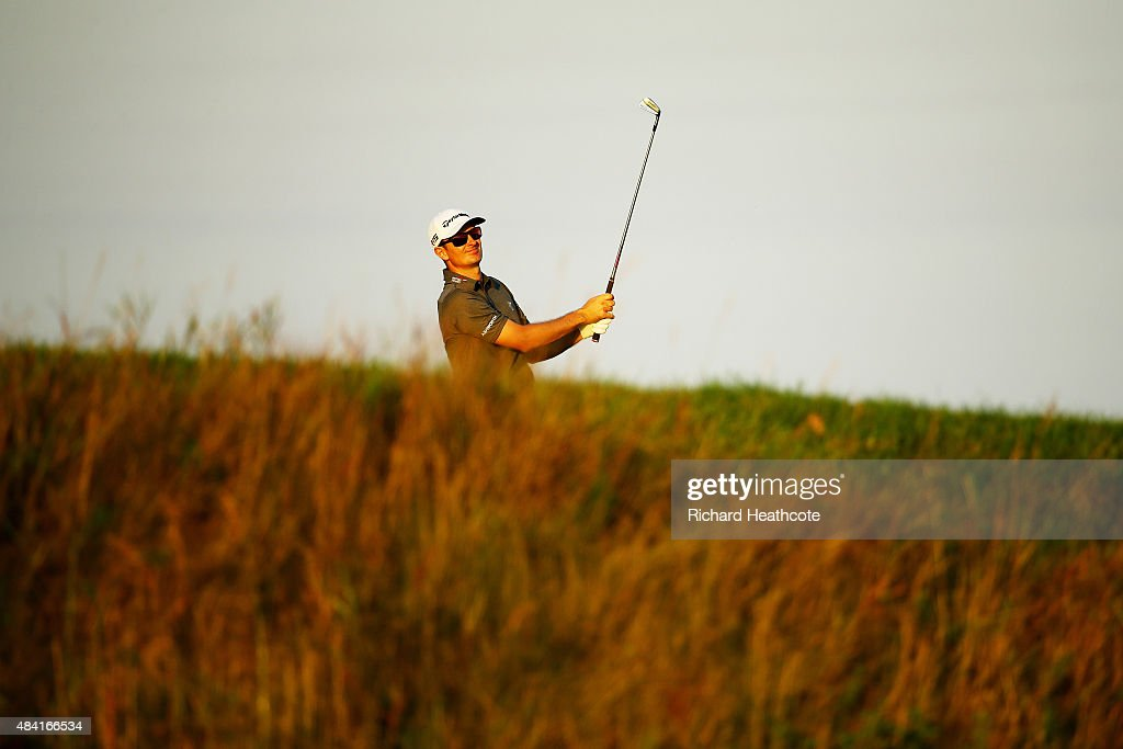 Justin Rose of England hits his second shot on the 18th hole during the third round of the 2015 PGA Championship at Whistling Straits at on August 15, 2015 in Sheboygan, Wisconsin.
