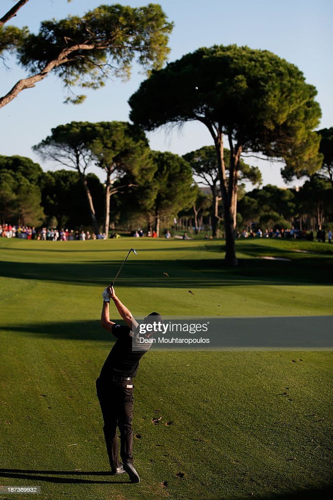 Justin Rose of England hits his second shot the 16th hole during the second round of the Turkish Airlines Open at The Montgomerie Maxx Royal Course on November 8, 2013 in Antalya, Turkey.