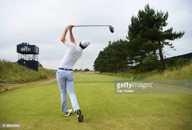 Justin Rose of England hits his tee shot on the 5th hole during a practice round prior to the 146th Open Championship at Royal Birkdale on July 19...