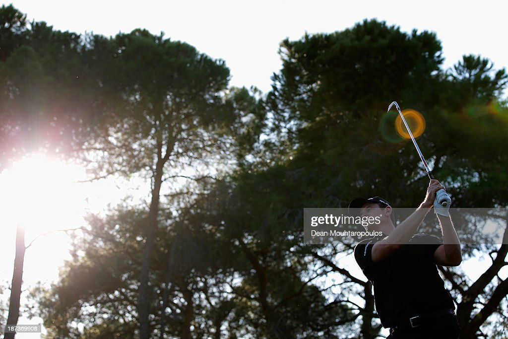 Justin Rose of England hits his tee shot the 16th hole during the second round of the Turkish Airlines Open at The Montgomerie Maxx Royal Course on November 8, 2013 in Antalya, Turkey.