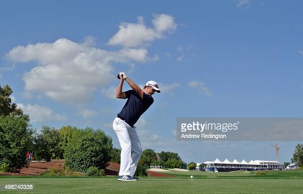 Justin Rose of England hits his teeshot on the 18th hole during the final round of the DP World Tour Championship on the Earth Course at Jumeirah...