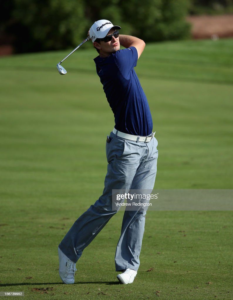 Justin Rose of England in action during the Pro Am prior to the start of the Dubai World Championship on the Earth Course at Jumeirah Golf Estates on November 20, 2012 in Dubai, United Arab Emirates.