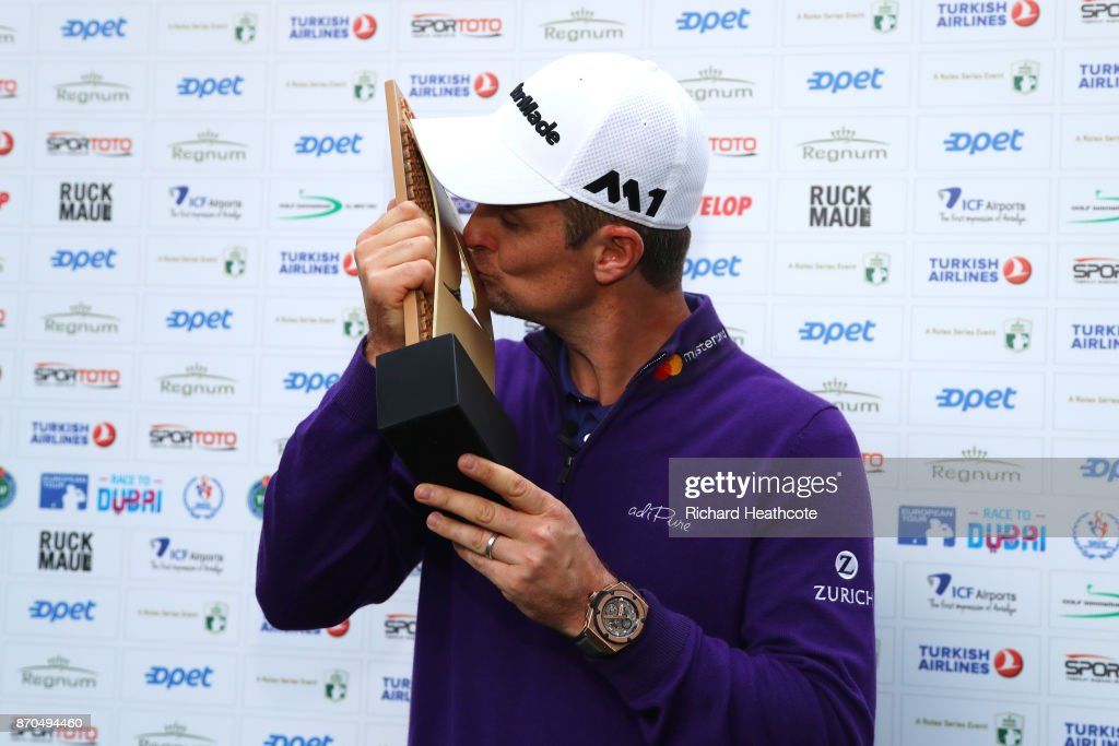 Justin Rose of England kisses the trophy after his victory during the final round of the Turkish Airlines Open at the Regnum Carya Golf & Spa Resort on November 5, 2017 in Antalya, Turkey.