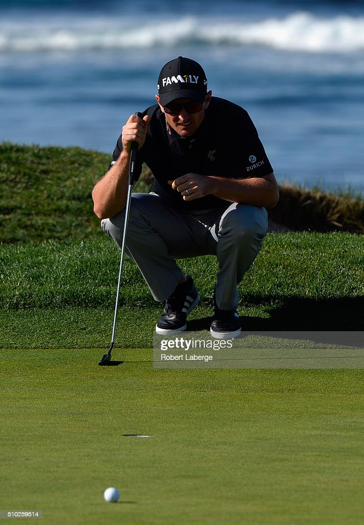 <a gi-track='captionPersonalityLinkClicked' href=/galleries/search?phrase=Justin+Rose&family=editorial&specificpeople=171559 ng-click='$event.stopPropagation()'>Justin Rose</a> of England lines up a putt on the fourth green during the final round of the AT&T Pebble Beach National Pro-Am at the Pebble Beach Golf Links on February 14, 2016 in Pebble Beach, California.