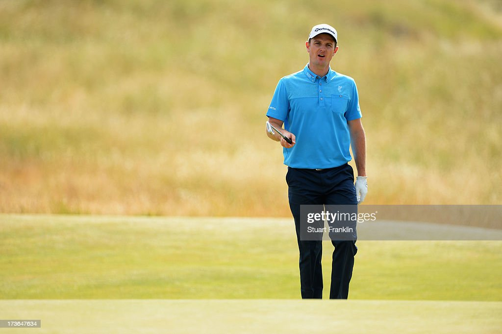 Justin Rose of England looks on ahead of the 142nd Open Championship at Muirfield on July 16, 2013 in Gullane, Scotland.