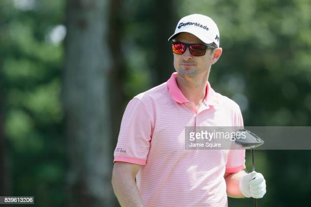 Justin Rose of England looks on from the fourth hole during round three of The Northern Trust at Glen Oaks Club on August 26 2017 in Westbury New York