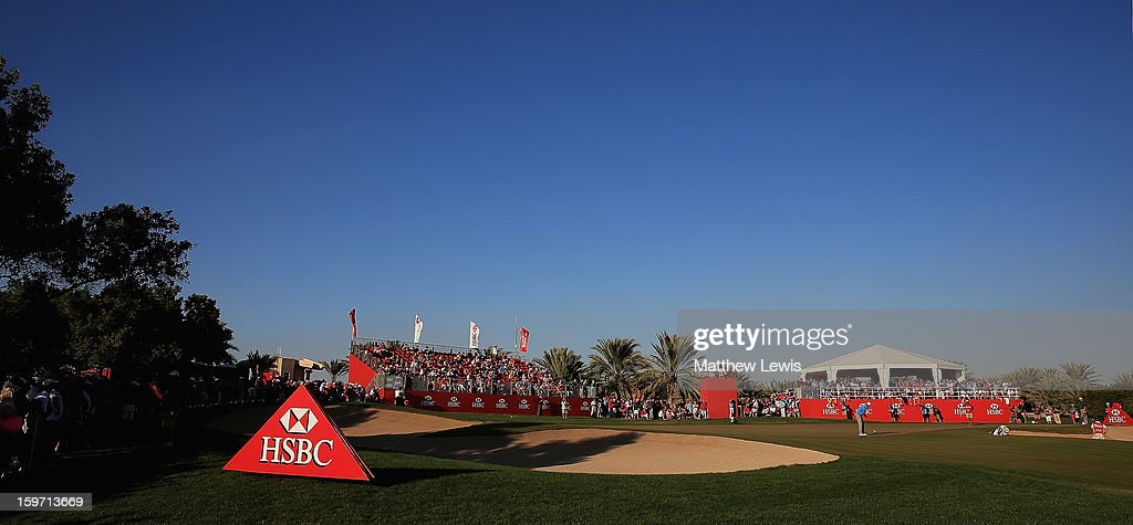 <a gi-track='captionPersonalityLinkClicked' href=/galleries/search?phrase=Justin+Rose&family=editorial&specificpeople=171559 ng-click='$event.stopPropagation()'>Justin Rose</a> of England makes a putt on the 17th green during day three of the Abu Dhabi HSBC Golf Championship at Abu Dhabi Golf Club on January 19, 2013 in Abu Dhabi, United Arab Emirates.