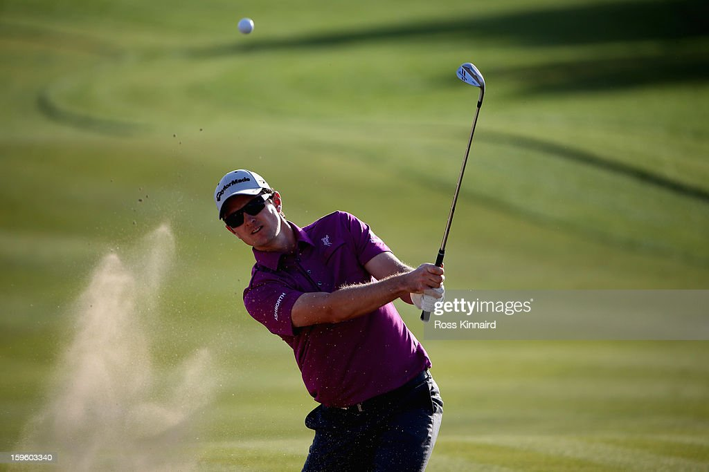 Justin Rose of England on the 17th green during the first round of the Abu Dhabi HSBC Golf Championship at the Abu Dhabi Golf Club on January 17, 2013 in Abu Dhabi, United Arab Emirates.