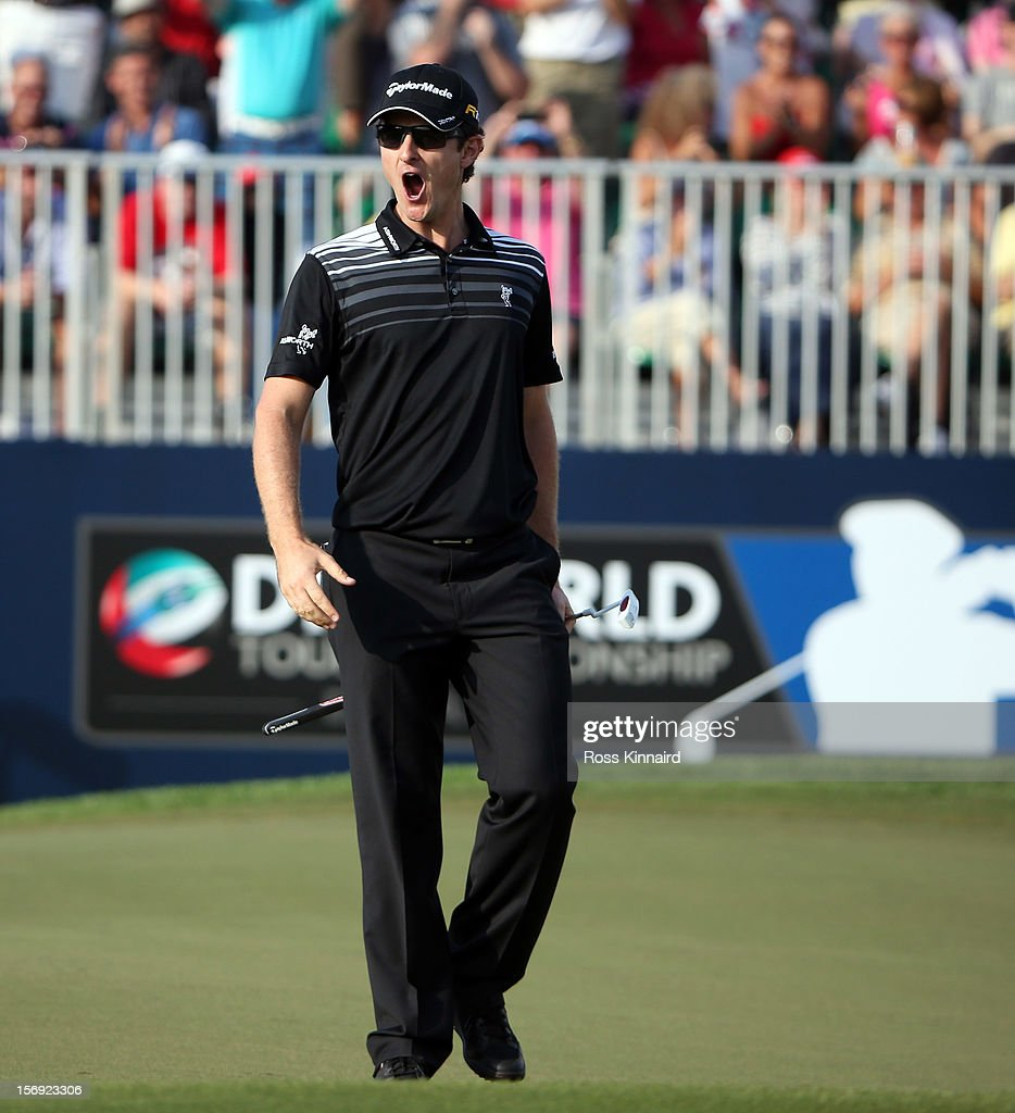 Justin Rose of England on the 18th hole during the final round the DP World Tour Championship on the Earth Course at Jumeirah Golf Estates on November 25, 2012 in Dubai, United Arab Emirates.