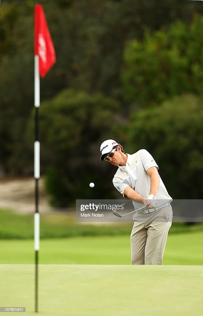 Justin Rose of England plays a chip shot during the Pro-Am ahead of the 2012 Australian Open, beginning tomorrow, at The Lakes Golf Club on December 5, 2012 in Sydney, Australia.