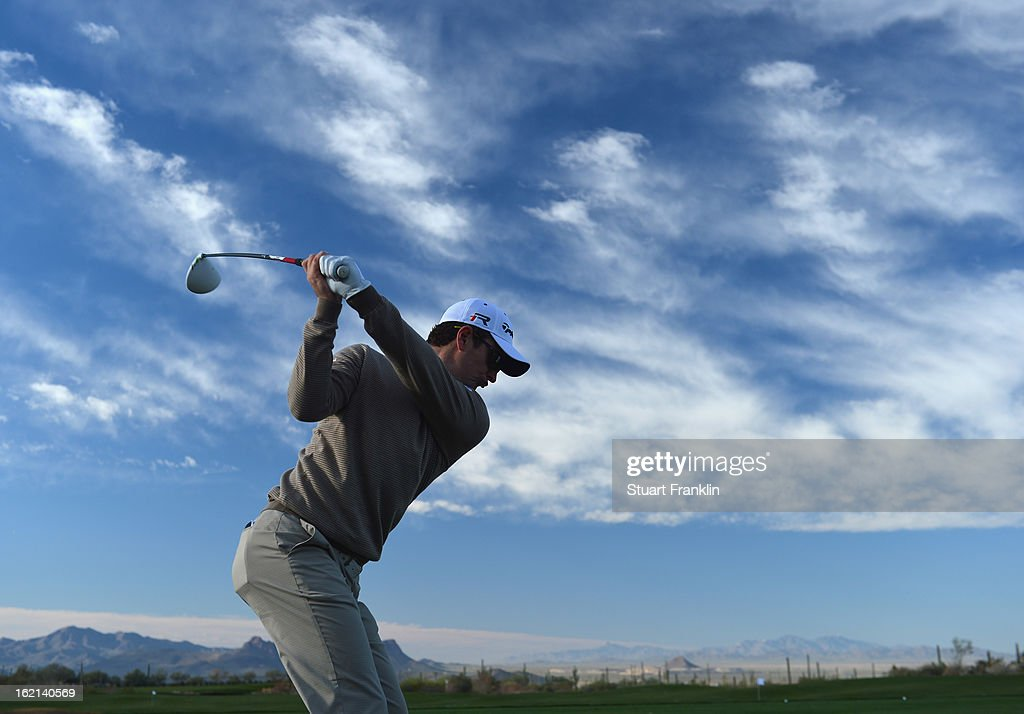 Justin Rose of England plays a shot during practice prior to the start of the World Golf ChampionshipsAccenture Match Play Championship at the...