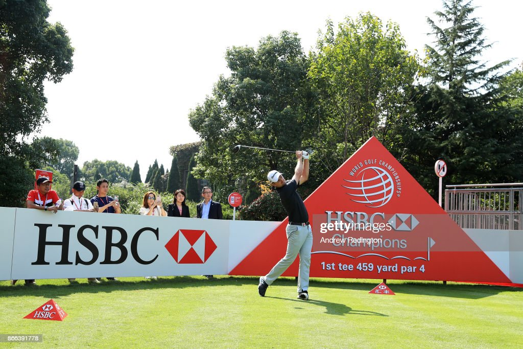 Justin Rose of England plays a shot during the pro-am prior to the WGC - HSBC Champions at Sheshan International Golf Club on October 25, 2017 in Shanghai, China.