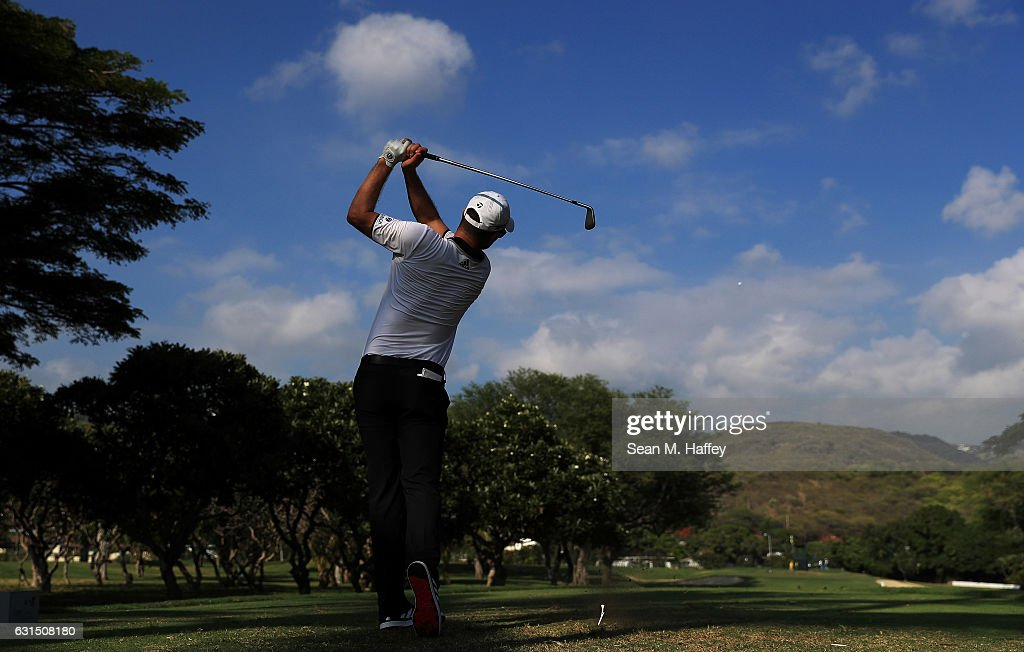 Justin Rose of England plays a shot during the Pro-Am Tounament prior to the Sony Open In Hawaii at Waialae Country Club on January 11, 2017 in Honolulu, Hawaii.