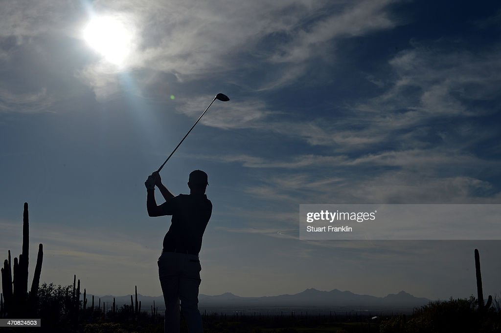 Justin Rose of England plays a shot on the first play off hole during the second round of the World Golf Championships - Accenture Match Play Championship at The Golf Club at Dove Mountain on February 20, 2014 in Marana, Arizona.