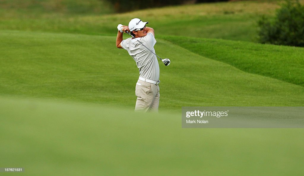 Justin Rose of England plays an approach shot during the Pro-Am ahead of the 2012 Australian Open, beginning tomorrow, at The Lakes Golf Club on December 5, 2012 in Sydney, Australia.