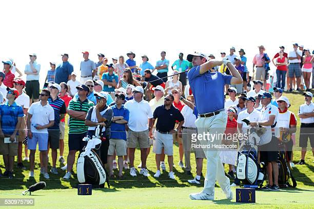 Justin Rose of England plays his shot from the 18th tee during the first round of THE PLAYERS Championship at the Stadium course at TPC Sawgrass on...