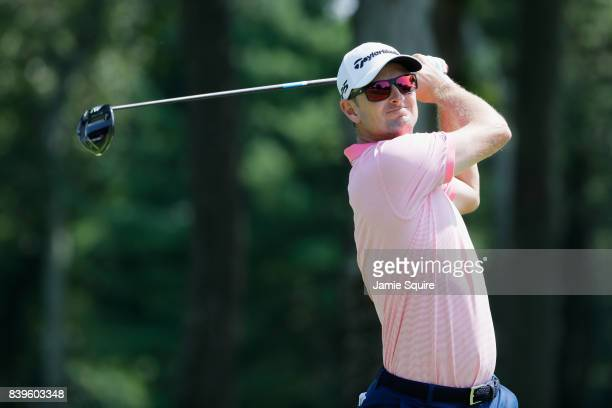 Justin Rose of England plays his shot from the fourth tee during round three of The Northern Trust at Glen Oaks Club on August 26 2017 in Westbury...