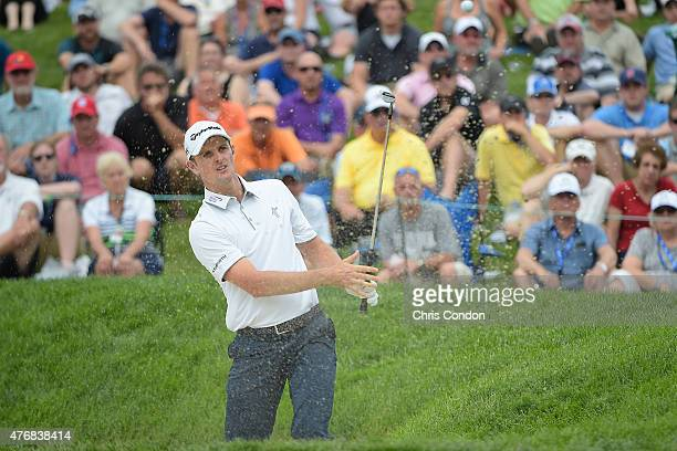 Justin Rose of England plays his third shot on the 14th hole during the final round of the Memorial Tournament presented by Nationwide at Muirfield...